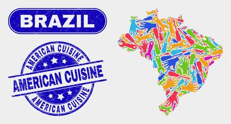 Service Brazil map and blue American Cuisine distress watermark. Colored vector Brazil map mosaic of workshop. Blue round American Cuisine imprint. Illustration