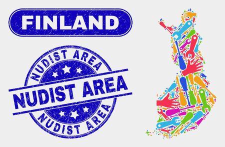 Carte du service Finlande et timbre de sceau rayé bleu de la zone nudiste. Vecteur coloré Finlande carte mosaïque de pièces de rechange. Sceau de zone nudiste arrondi bleu.