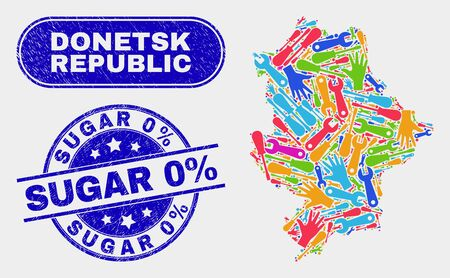 Engineering Donetsk Republic map and blue Sugar 0% distress seal stamp. Colored vector Donetsk Republic map mosaic of engineering parts. Blue rounded Sugar 0% seal.