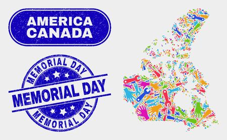 Service Canada v2 map and blue Memorial Day distress seal stamp. Colorful vector Canada v2 map mosaic of mechanic units. Blue rounded Memorial Day stamp. Illusztráció