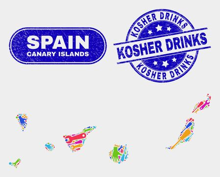 Production Canary Islands map and blue Kosher Drinks scratched stamp. Colored vector Canary Islands map mosaic of production items. Blue rounded Kosher Drinks stamp.