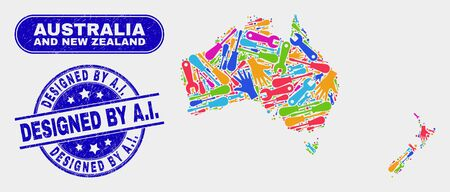 Tools Australia and New Zealand map and blue Designed by A.I. scratched seal stamp. Colored vector Australia and New Zealand map mosaic of tools components. Blue rounded Designed by A.I. seal.