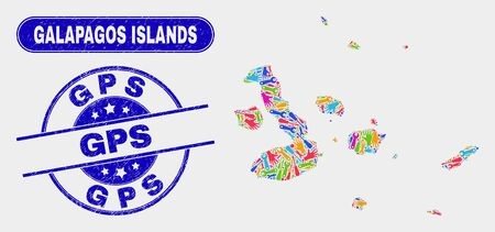Element Galapagos Islands map and blue GPS scratched seal. Bright vector Galapagos Islands map mosaic of production components. Blue rounded GPS seal.