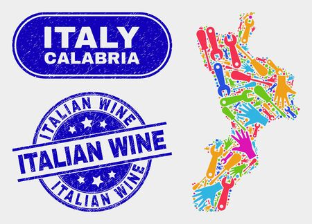 Element Calabria region map and blue Italian Wine distress seal stamp. Colorful vector Calabria region map mosaic of workshop units. Blue round Italian Wine seal. Illustration