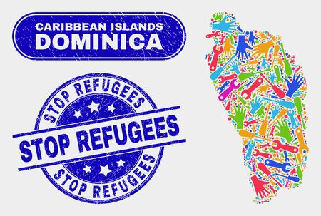 Engineering Dominica Island map and blue Stop Refugees textured seal stamp. Bright vector Dominica Island map mosaic of engineering items. Blue rounded Stop Refugees imprint.