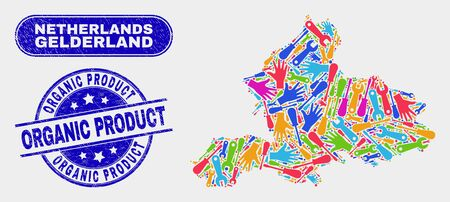 Service Gelderland Province map and blue Organic Product scratched stamp. Colored vector Gelderland Province map mosaic of mechanic items. Blue rounded Organic Product stamp. Banque d'images - 126708490