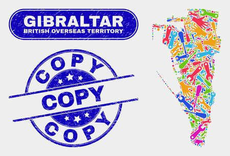 Tools Gibraltar map and blue Copy distress seal stamp. Bright vector Gibraltar map mosaic of tools components. Blue rounded Copy stamp.