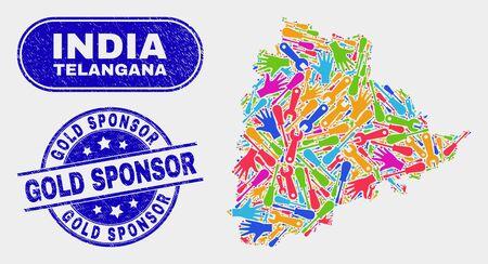 Engineering Telangana State map and blue Gold Sponsor grunge stamp. Bright vector Telangana State map mosaic of engineering. Blue round Gold Sponsor badge. Banque d'images - 126708337