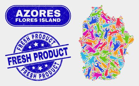 Service Flores Island of Azores map and blue Fresh Product grunge stamp. Bright vector Flores Island of Azores map mosaic of productivity components. Blue rounded Fresh Product stamp. 版權商用圖片 - 126708338