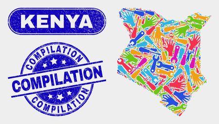 Construction Kenya map and blue Compilation scratched seal stamp. Bright vector Kenya map mosaic of production. Blue round Compilation stamp.