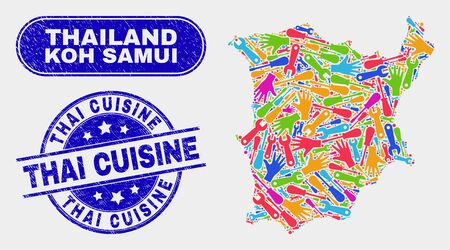 Production Koh Samui map and blue Thai Cuisine scratched seal. Colored vector Koh Samui map mosaic of machinery elements. Blue rounded Thai Cuisine seal.