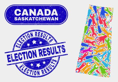 Production Saskatchewan Province map and blue Election Results distress stamp. Colorful vector Saskatchewan Province map mosaic of production components. Blue round Election Results seal.