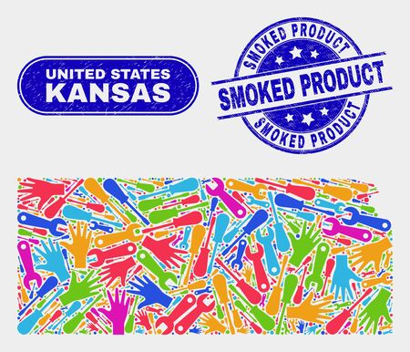 Industrial Kansas State map and blue Smoked Product scratched stamp. Colored vector Kansas State map mosaic of industrial parts. Blue rounded Smoked Product imprint. Banque d'images - 126708250