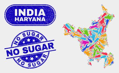 Productivity Haryana State map and blue No Sugar textured stamp. Colorful vector Haryana State map mosaic of productivity components. Blue rounded No Sugar seal.