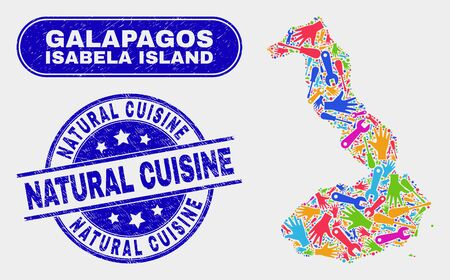 Service Isabela Island of Galapagos map and blue Natural Cuisine distress seal stamp. Colorful vector Isabela Island of Galapagos map mosaic of repair components. Blue rounded Natural Cuisine seal.