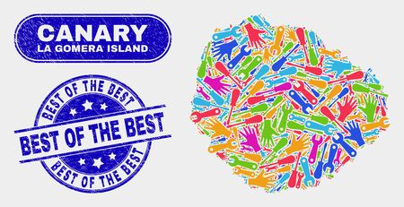 Constructor La Gomera Island map and blue Best of the Best textured seal stamp. Colored vector La Gomera Island map mosaic of repair units. Blue round Best of the Best seal.