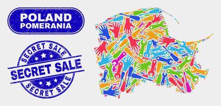 Factory Pomeranian Voivodeship map and blue Secret Sale grunge seal stamp. Colored vector Pomeranian Voivodeship map mosaic of production elements. Blue rounded Secret Sale stamp. Illusztráció
