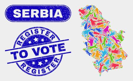 Component Serbia map and blue Register to Vote textured stamp. Colored vector Serbia map mosaic of industrial parts. Blue rounded Register to Vote stamp.