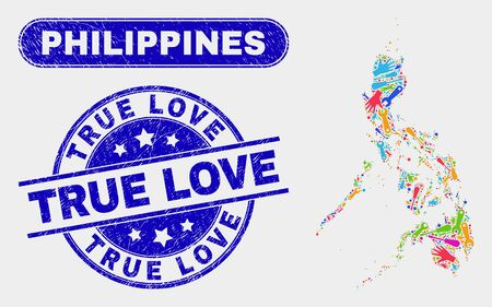Productivity Philippines map and blue True Love distress stamp. Bright vector Philippines map mosaic of engineering units. Blue round True Love stamp.