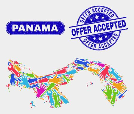 Construction Panama map and blue Offer Accepted textured seal stamp. Colorful vector Panama map mosaic of equipment units. Blue round Offer Accepted seal.