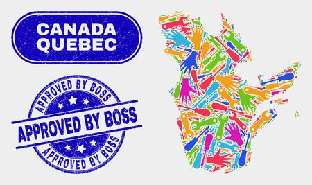 Productivity Quebec Province map and blue Approved by Boss textured seal stamp. Colored vector Quebec Province map mosaic of industrial components. Blue rounded Approved by Boss seal.