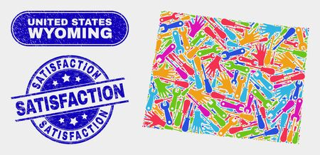 Assembly Wyoming State map and blue Satisfaction textured seal stamp. Bright vector Wyoming State map mosaic of tools components. Blue round Satisfaction seal.