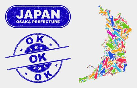 Component Osaka Prefecture map and blue OK distress seal. Bright vector Osaka Prefecture map mosaic of production. Blue rounded OK rubber.