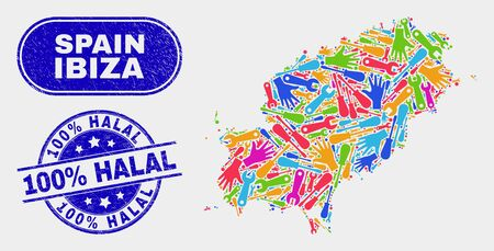 Component Ibiza Island map and blue 100% Halal scratched seal. Bright vector Ibiza Island map mosaic of repair parts. Blue rounded 100% Halal seal.