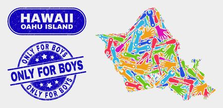 Construction Oahu Island map and blue Only for Boys scratched seal stamp. Colorful vector Oahu Island map mosaic of mechanics components. Blue round Only for Boys stamp. 向量圖像