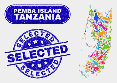 Factory Pemba island map and blue Selected textured seal stamp. Colorful vector Pemba island map mosaic of production elements. Blue rounded Selected seal.