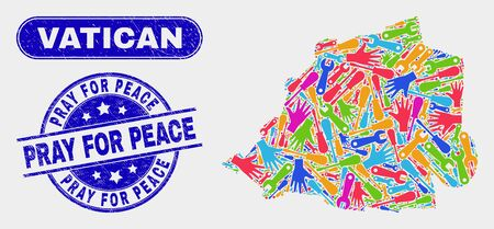 Assembly Vatican map and blue Pray for Peace grunge stamp. Bright vector Vatican map mosaic of mechanic items. Blue round Pray for Peace stamp.  イラスト・ベクター素材