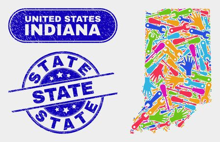 Component Indiana State map and blue State distress stamp. Colorful vector Indiana State map mosaic of service parts. Blue rounded State imprint.