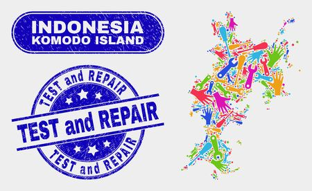 Industrial Komodo Island map and blue Test and Repair textured seal. Colorful vector Komodo Island map mosaic of mechanics items. Blue rounded Test and Repair rubber.