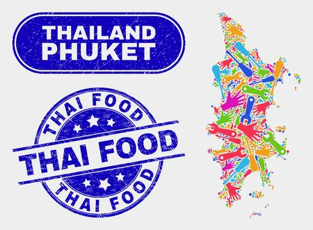 Productivity Phuket map and blue Thai Food textured stamp. Colorful vector Phuket map mosaic of production units. Blue round Thai Food stamp. Иллюстрация