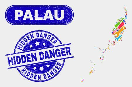 Service Palau map and blue Hidden Danger scratched seal. Colored vector Palau map mosaic of mechanic parts. Blue round Hidden Danger seal.