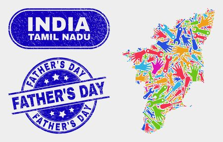 Factory Tamil Nadu State map and blue FatherS Day textured stamp. Colored vector Tamil Nadu State map mosaic of engineering components. Blue rounded FatherS Day stamp.