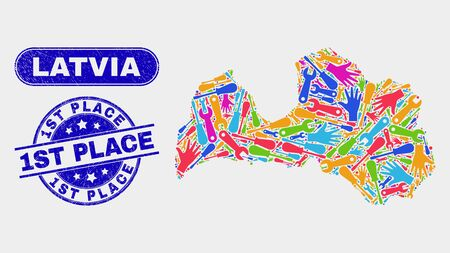 Service Latvia map and blue 1St Place textured seal stamp. Colored vector Latvia map mosaic of tools units. Blue round 1St Place stamp.