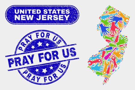 Tools New Jersey State map and blue Pray for Us grunge seal. Colored vector New Jersey State map mosaic of engineering components. Blue rounded Pray for Us seal.