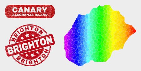 Spectral dotted Alegranza Island map and seal stamps. Red round Brighton distress watermark. Gradiented rainbow colored Alegranza Island map mosaic of randomized round dots. Ilustracje wektorowe