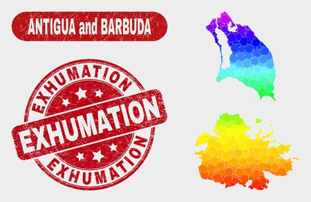 Rainbow colored dotted Antigua and Barbuda map and seals. Red rounded Exhumation scratched seal stamp. Gradient rainbow colored Antigua and Barbuda map mosaic of scattered round elements.
