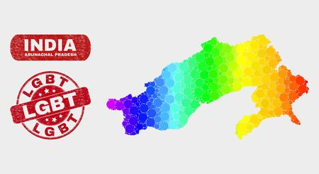Rainbow colored dotted Arunachal Pradesh State map and seal stamps. Red round LGBT textured seal. Gradiented rainbow colored Arunachal Pradesh State map mosaic of random round dots. Illustration