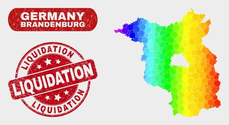 Rainbow colored dotted Brandenburg Land map and seal stamps. Red round Liquidation scratched seal stamp. Gradient rainbow colored Brandenburg Land map mosaic of random small spheres.