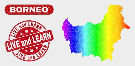 Rainbow colored dotted Borneo map and seal stamps. Red round Live and Learn scratched seal stamp. Gradiented rainbow colored Borneo map mosaic of randomized small spheres. Иллюстрация