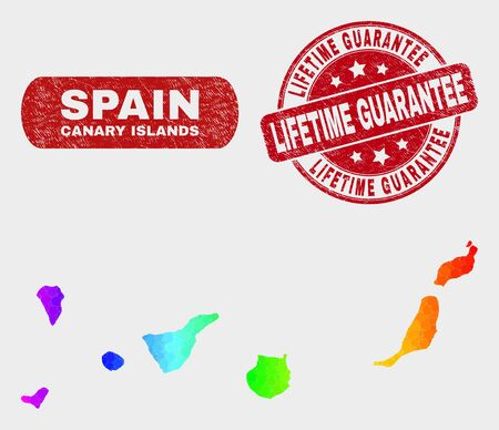 Rainbow colored dotted Canary Islands map and watermarks. Red rounded Lifetime Guarantee grunge seal. Gradiented rainbow colored Canary Islands map mosaic of randomized small circles.