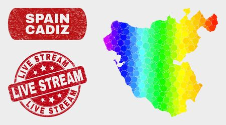Spectral dotted Cadiz Province map and seal stamps. Red rounded Live Stream textured seal stamp. Gradiented spectrum Cadiz Province map mosaic of random circle. Иллюстрация