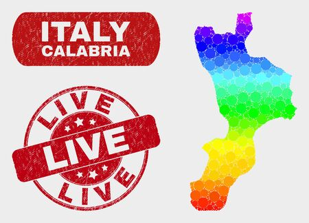 Rainbow colored dotted Calabria region map and rubber prints. Red round Live textured watermark. Gradiented rainbow colored Calabria region map mosaic of randomized round dots.