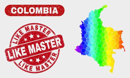 Rainbow colored dot Colombia map and stamps. Red round Like Master grunge watermark. Gradiented rainbow colored Colombia map mosaic of random small spheres. Like Master stamp with grunge surface. Ilustrace