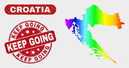 Spectral dotted Croatia map and watermarks. Red round Keep Going scratched seal stamp. Gradiented spectral Croatia map mosaic of randomized round dots. Keep Going stamp with rubber surface. Vectores