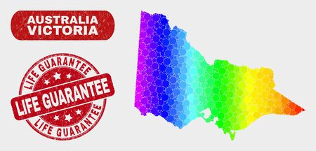 Rainbow colored dotted Australian Victoria map and watermarks. Red round Life Guarantee scratched seal. Gradiented rainbow colored Australian Victoria map mosaic of randomized round dots.