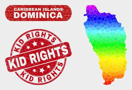 Rainbow colored dotted Dominica Island map and seal stamps. Red rounded Kid Rights grunge seal. Gradiented rainbow colored Dominica Island map mosaic of randomized circle dots. 向量圖像